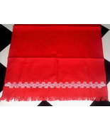 DARLING Retro RED Cotton Kitchen Towel White Trim HAND EMBROIDERY - $12.00