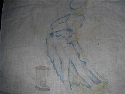 Vintage NUDIE BOTTOM Lady LINEN Kitchen Towel!!