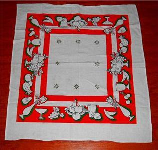 Primary image for Lovely Vintage Orange/White FEED SACK FRUIT & FLORAL Large Kitchen Dish Towel!