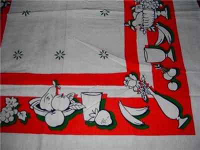 Vintage FEED SACK FRUIT & FLORAL Kitchen Dish Towel!