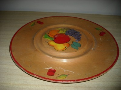 DARLING X Large Hand Painted FRUIT & CHERRY WOODEN TRAY