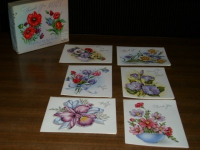 Primary image for Charming Vintage FRENCH FOLD 6pc Floral Graphic THANK YOU Cards + Original Box!