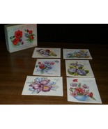 Vintage FRENCH FOLD Floral Graphic THANK YOU Cards +BOX - $12.99