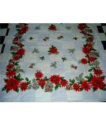 FUN 50's HOLIDAY Tablecloth POINSETTIA BELLS PINECONES! - $24.99