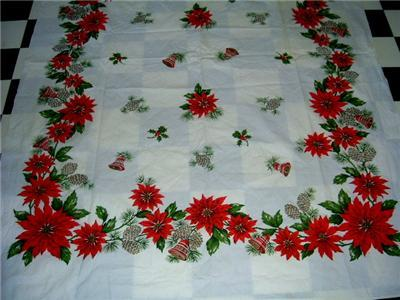 FUN 50's HOLIDAY Tablecloth POINSETTIA BELLS PINECONES!