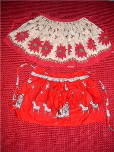WoW Retro CHRISTMAS Theme 50's KITCHEN APRONS + Santa!!