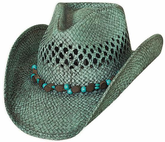 Primary image for Bullhide Let It Rain Toyo Straw Cowgirl Hat Beaded Band Vented Crown Turquoise