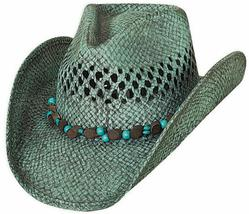 Bullhide Let It Rain Toyo Straw Cowgirl Hat Beaded Band Vented Crown Turquoise - €57,57 EUR