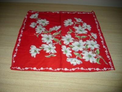 STUNNING Vintage Red/White DOGWOOD Cotton HANDKERCHIEF!