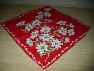 Primary image for STUNNING Vintage Red/White DOGWOOD Graphic Cotton HANDKERCHIEF!