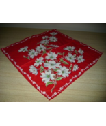 STUNNING Vintage Red/White DOGWOOD Graphic Cotton HANDKERCHIEF! - $14.00