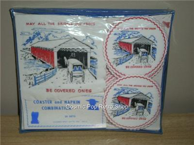 50's OLD/NEW Stock COVERED BRIDGE Napkin & Coaster Set!