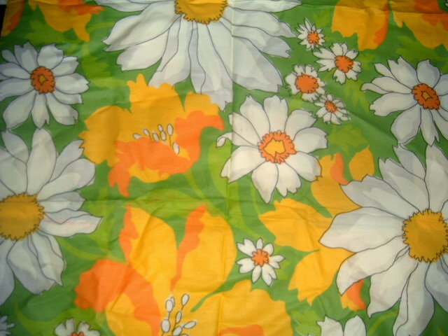 "Fab Flower Power 1960's MoD DAISY Fabric • 53"" x 46"" ORANGE YELLOW & LIME Colors - $14.00"