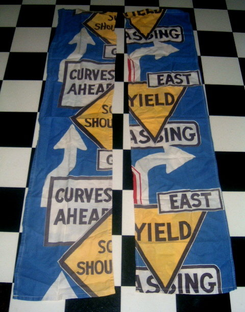 60's MoD TRAFFIC Sign Cotton Fabric Panels! GROOVY!