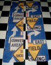 60's Mo D Traffic Sign Cotton Fabric Panels! Groovy! - $19.99