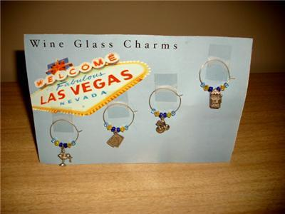 VIVA Las VEGAS ~ DARLING Vegas WINE GLASS CHARMS w/CARD