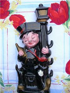 Vintage DRUNK on a LAMP POST Ceramic DECANTER ~ JAPAN!!