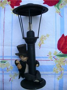 Primary image for Adorable Vintage DRUNK on a LAMP POST ~ Tall TIN CANDLE HOLDER!!