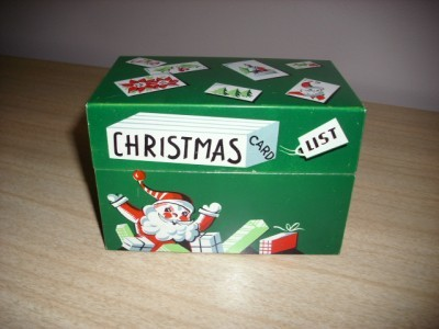 DARLING 1950's MayFair SANTA CHRISTMAS Card List TIN!!