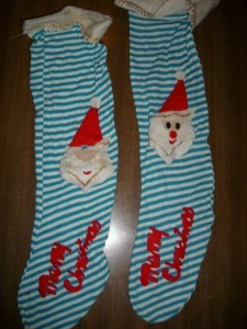 Sooo FUN! 2 Vintage SANTA AQUA/WHT CHRISTMAS STOCKINGS!