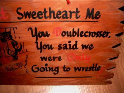 Primary image for Neat Vintage 1950's Don't Sweetheart Me Naughty Humor Wood Rumpus Room Wall Art