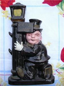 Primary image for Fun Vintage DRUNK on a LAMP POST Ceramic DECANTER ~ JAPAN!!