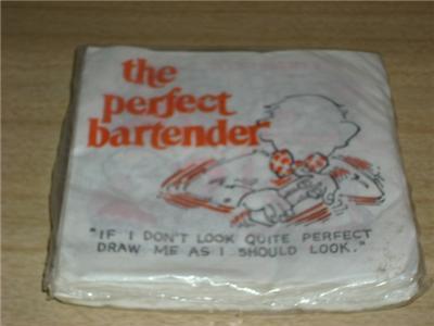 Retro COCKTAIL Bar NAPKINS 'PERFECT BARTENDER' SEALED!
