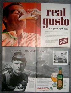 FAB 50's/60's SCHLITZ /BALLANTINE Ale ADVERTISING ADS!!