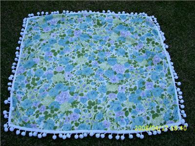 Vintage FLORAL & BUTTERFLY Tablecloth w/ Dingle Balls!!