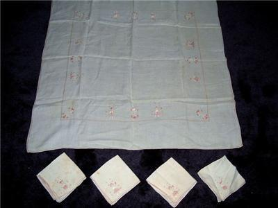 Primary image for Darling 50'sPINK/Wht LINEN Tablecloth/Napkins Men&Woman