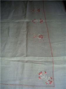 Darling 50'sPINK/Wht LINEN Tablecloth/Napkins Men&Woman