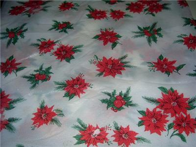 Primary image for Wonderful Vintage PLASTIC Holiday POINSETTIA Tablecloth w/ Package!