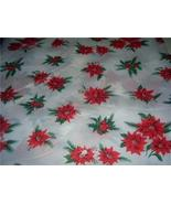 Wonderful Vintage PLASTIC Holiday POINSETTIA Tablecloth w/ Package! - $18.00