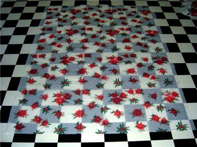 Retro PLASTIC Holiday POINSETTIA Tablecloth w/ Package!