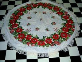 Darling Vintage ROUND 1950's HOLIDAY Tablecloth POINSETTIA & ORNAMENTS G... - $24.00