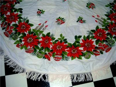 ROUND 50's HOLIDAY Tablecloth POINSETTIA & ORNAMENTS!!