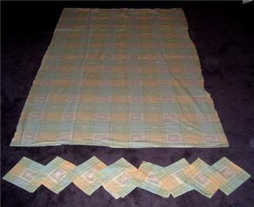Primary image for Darling Vintage 1960's AQUA & YELLOW Picnic Tablecloth + 8 Napkins