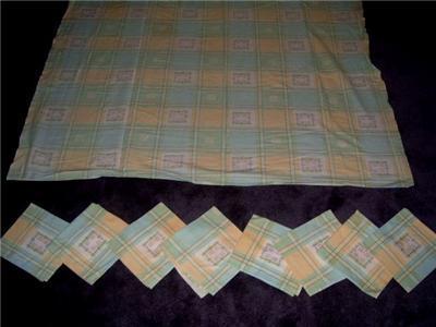 FUN Vintage AQUA & YELLOW Picnic Tablecloth + 8 Napkins