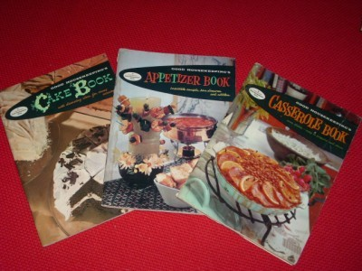 Primary image for Vintage 3 pc Set of 1958 GOOD HOUSEKEEPING COOKBOOKS ~ Fab GRAPHICS!!