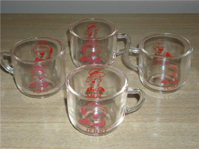 FUN Vintage Red TOM & JERRY PUNCH MUGS Darling Graphic!