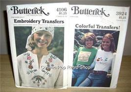 2 Vintage MoD BUTTERICK EMBROIDERY & TRANSFERS Patterns - $16.99