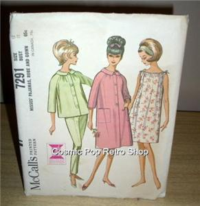 FANTASTIC Vintage McCalls PAJAMAS, ROBE & GOWN Pattern!