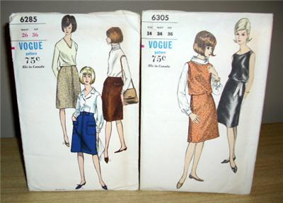 Primary image for 2 Vintage VOGUE PATTERNS / 6285 & 6305 SKIRT & DRESS
