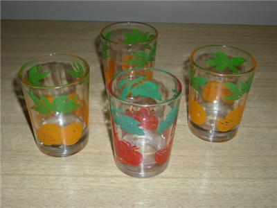 Primary image for Charming Vintage 4pc FEDERAL Glass FRUIT MOTIF Swanky Swig Juice Glassware Set!!