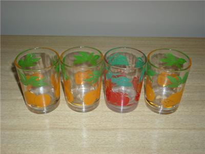 Vintage FEDERAL Glass FRUIT MOTIF Juice Glassware Set!!