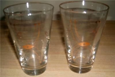 Vintage LIBBEY 2pc ATOMIC SPUTNIK High Ball TUMBLERS!!