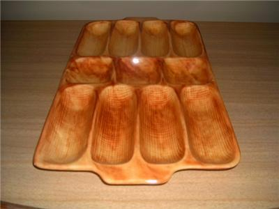 Vintage CALIFORNIA Pottery HOT DOG Platter 11 Sections!