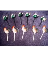 FUN Vintage Plastic 11pc CAKE/CUPCAKE Toppers ROOSTERS and TURKEYS Picks!! - $8.00