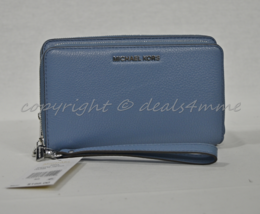 NWT Michael Kors Adele Large Leather Smartphone Wallet/Wristlet in Denim... - $149.00