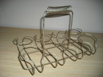 Primary image for Swell Vintage 1950's Mid Century MODERN Portable WIRE 8 Section GLASS Caddy RACK